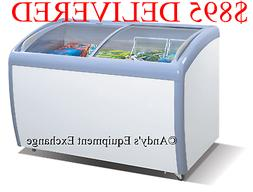 """12 Cubic feet 4 foot wide 49.5"""" Ice Cream Curved Glass Chest"""