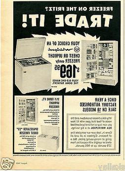 1965 Print Ad of RCA Whirlpool Chest & Upright Freezer