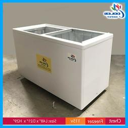 "53"" Chest Freezer Glass top Gelato Ice Cream Dipping Cabinet"