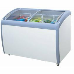 Atosa 12 cu ft Angle Curved Top Chest Freezer Glass Top, Dee