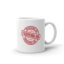 40th Anniversary Red Stamp Birthday Tea Fun Mug 11oz Ceramic