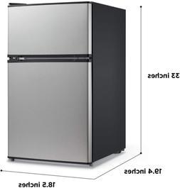 Compact Refrigerator W/Freezer 3.1 Cu.Ft. Stainless Steel En