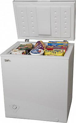 Chest Deep White Freezer 5 Cu Ft Energy efficient Small Spac