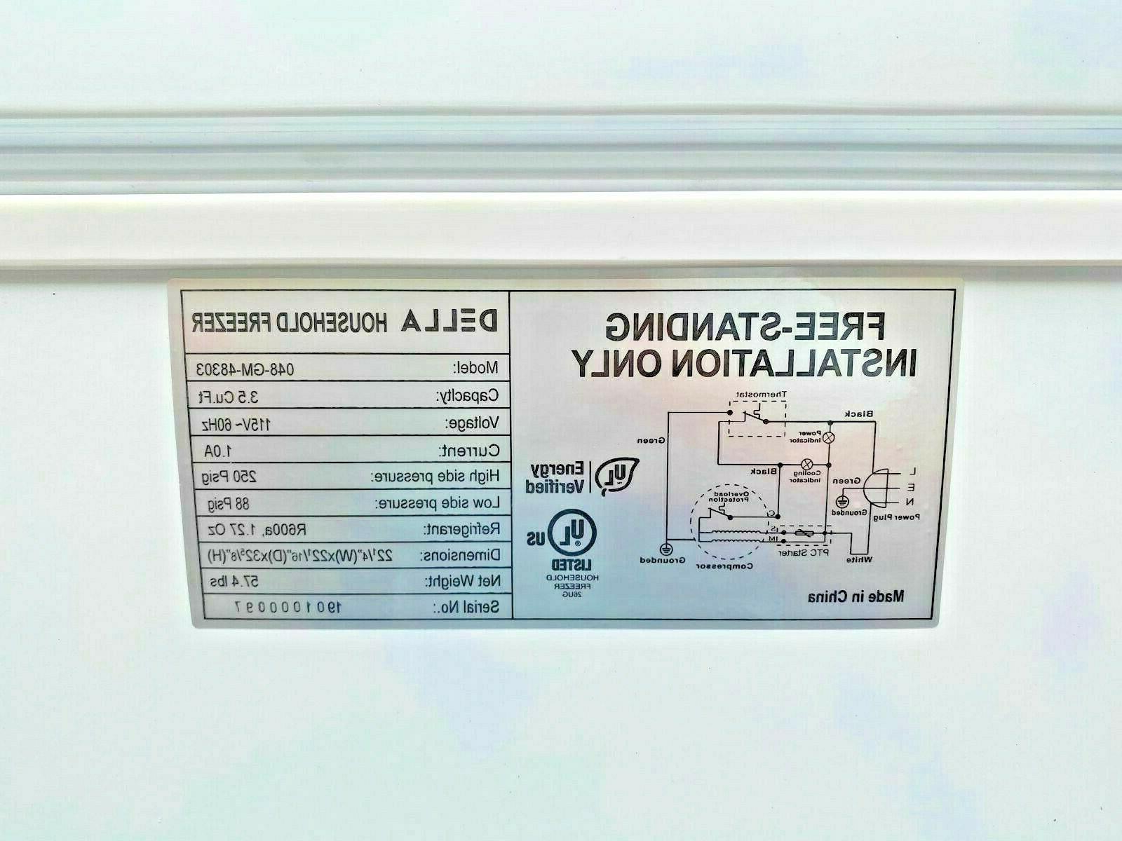 NEW Top Freezer Storage Cabinet NSF 3.5 Cu Free Home