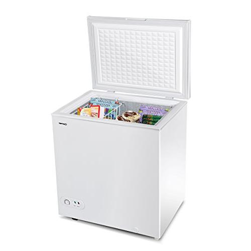 Costway Single Door Freezer 5.2 Capacity Compact with Power Indicator Light and Basket