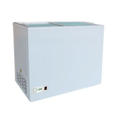 toolots commercial chest freezer top glass door