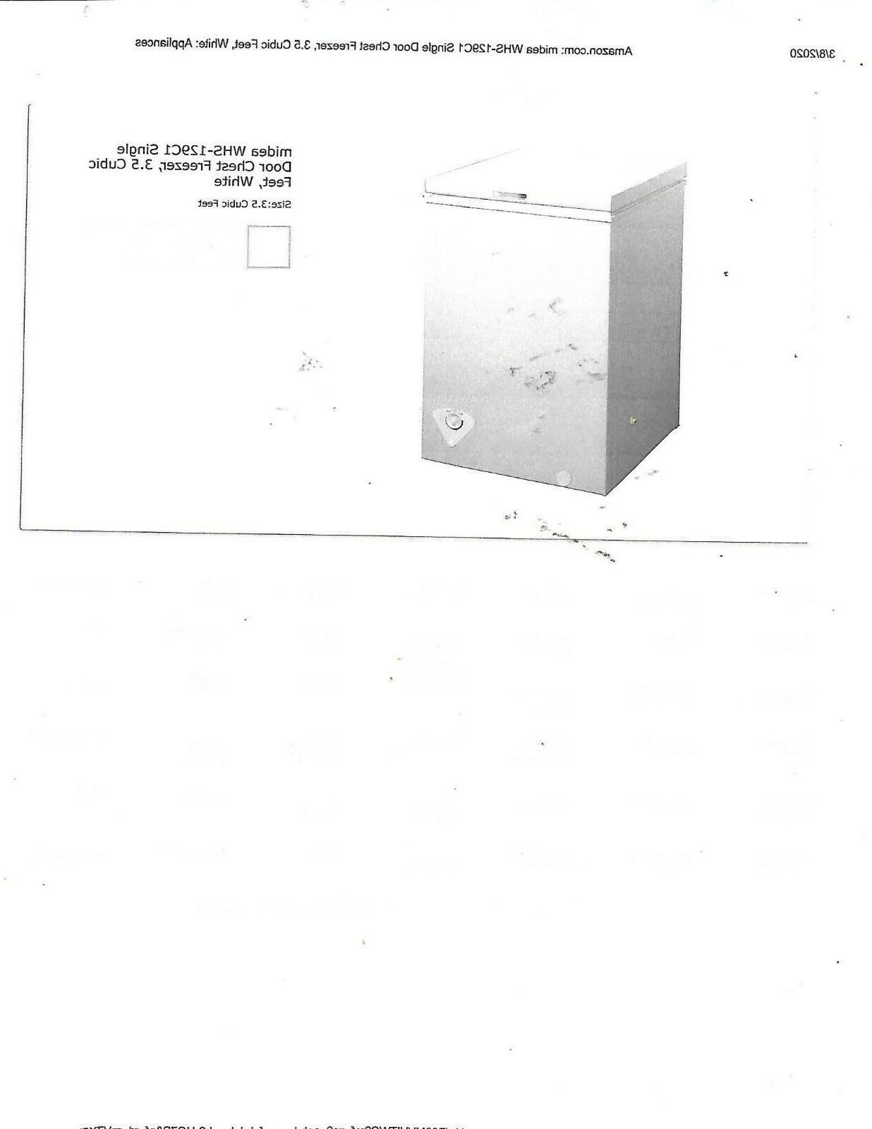whs 129c1 single door chest freezer cubic