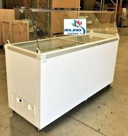 "NEW 70"" Ice Cream Gelato Glass Freezer Chest Showcase Displa"